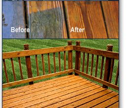 before and after deck cleaning