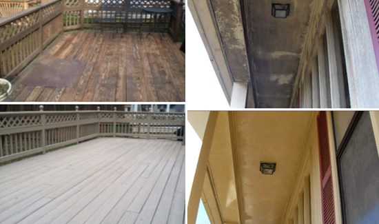 Wood Deck ceiling pressure washing delaware