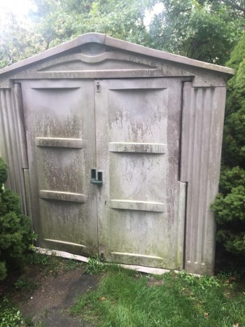 shed and storage unit cleaning powerwashing before